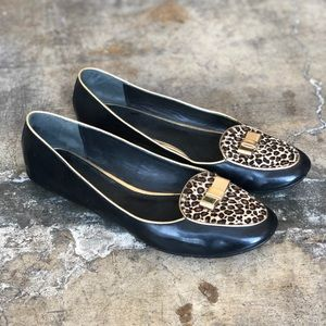 Coach Patent and Cheetah Gold Bow Loafer Flat 9.5
